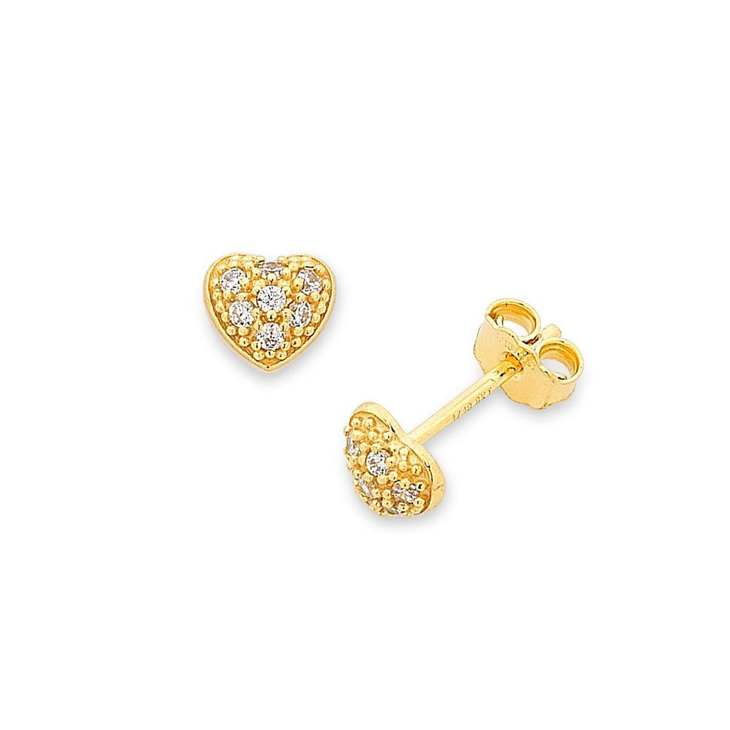 9ct Yellow Gold Silver Infused Childrens Heart Earrings Earrings Bevilles