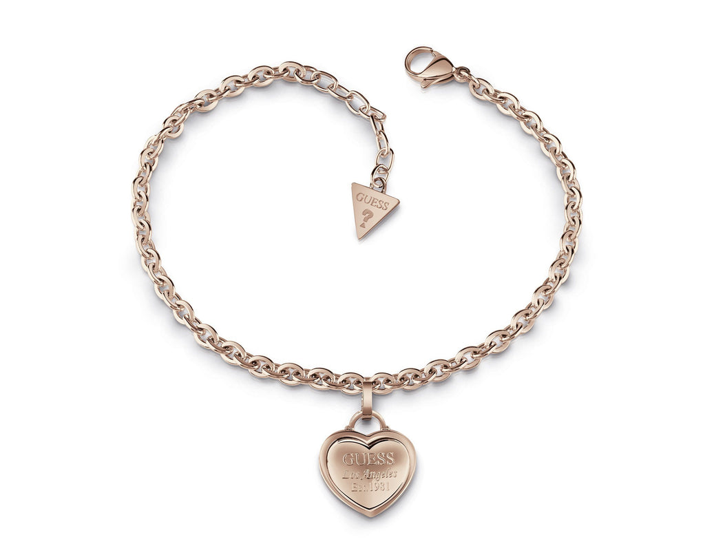 Guess Follow My Charm Rose Gold Plated Chain Heart Pendant Bracelet Guess