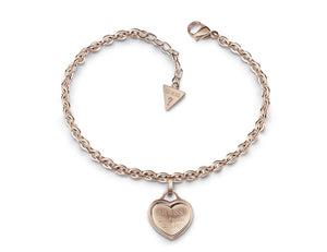 Guess Follow My Charm Rose Gold Plated Chain Heart Pendant Bracelet