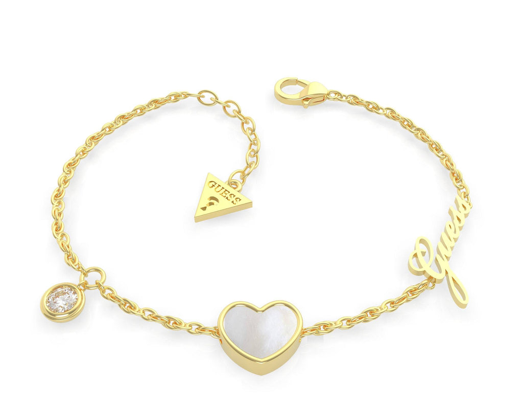 Guess Sea Gift Gold Plated Mother of Pearl White Heart & Crystal Bracelet Guess