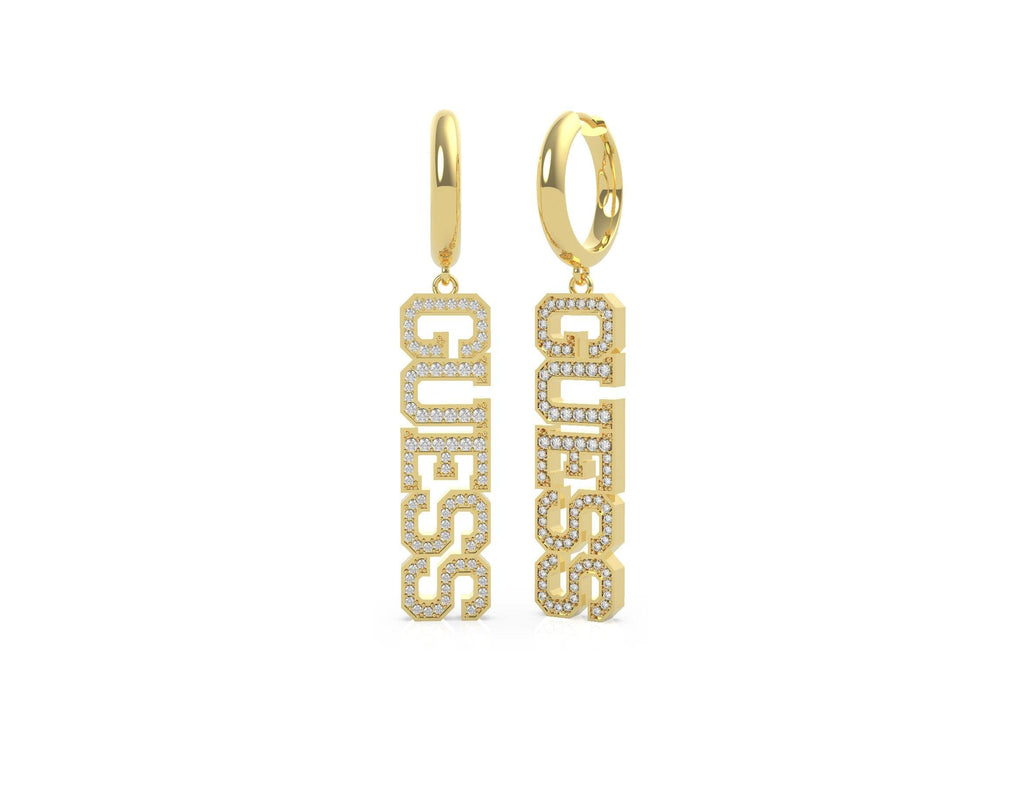 Guess College 1981 Gold Plated Pendant Pave Guess Huggies Earrings Guess