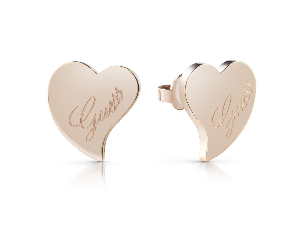 Guess Love Rose Gold Plated Guess Love Heart Stud Earrings Guess
