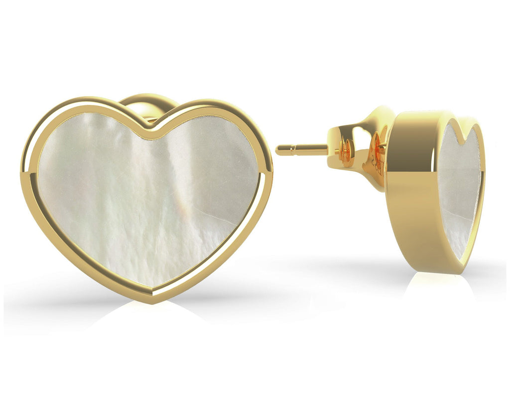 Guess Sea Gift Gold Plated Mother of Pearl White Heart Stud Earrings Guess