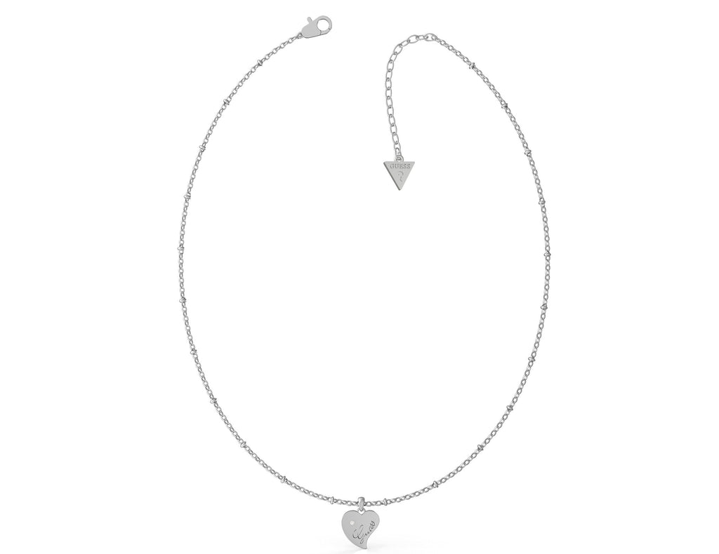 Guess Queen of Heart Rhodium Plated 45cm Heart Necklace Guess