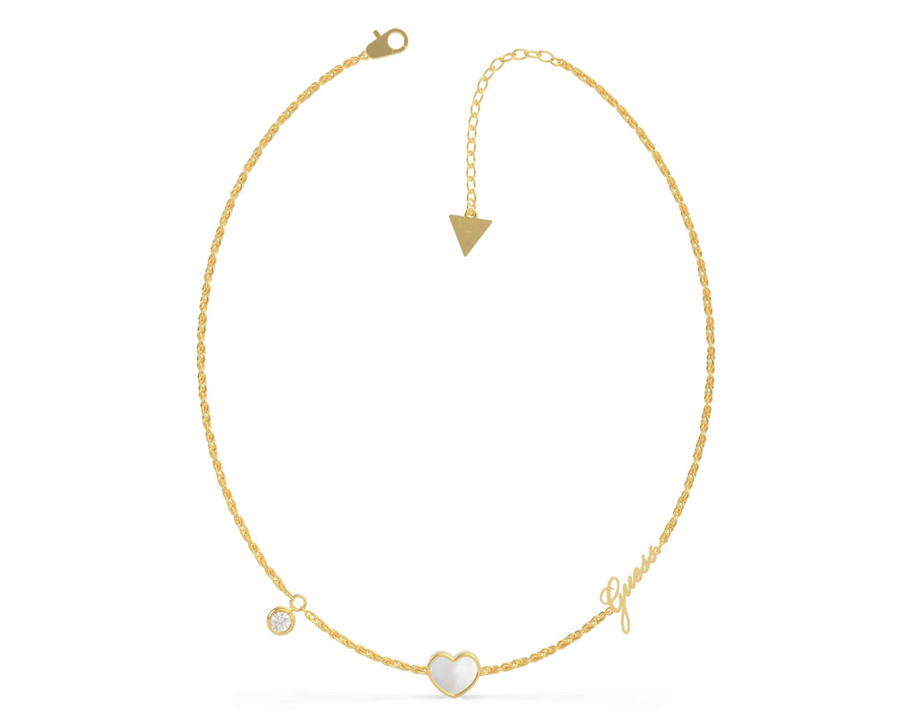 Guess Sea Gift Gold Plated 45cm Mother of Pearl White Heart & Crystals Necklace Necklaces Guess