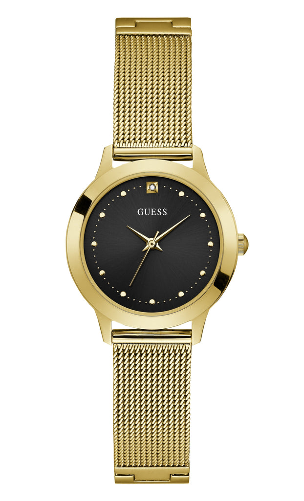 Guess Chelsea Gold & Black Mesh Watch W1197L5