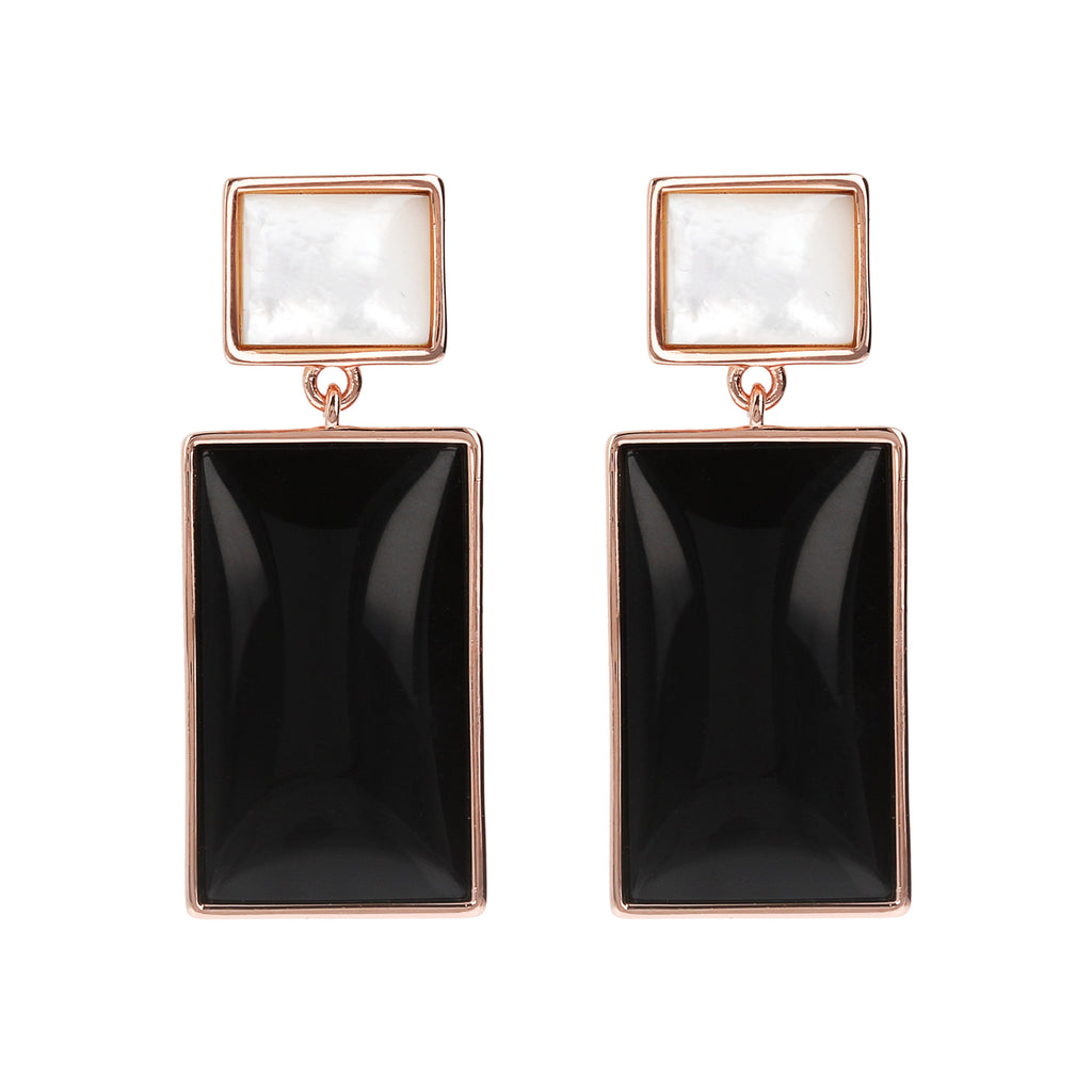 Bronzallure Mother of Pearl and Natural Stone Rectangular Earrings Earrings Bronzallure Black Onyx