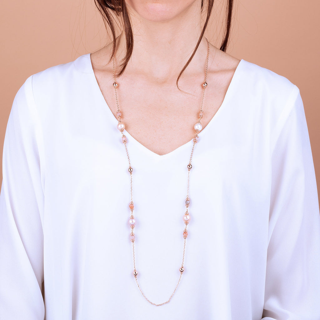 Bronzallure Peach Moonstone And Ming Pearls Necklace Necklace Bronzallure