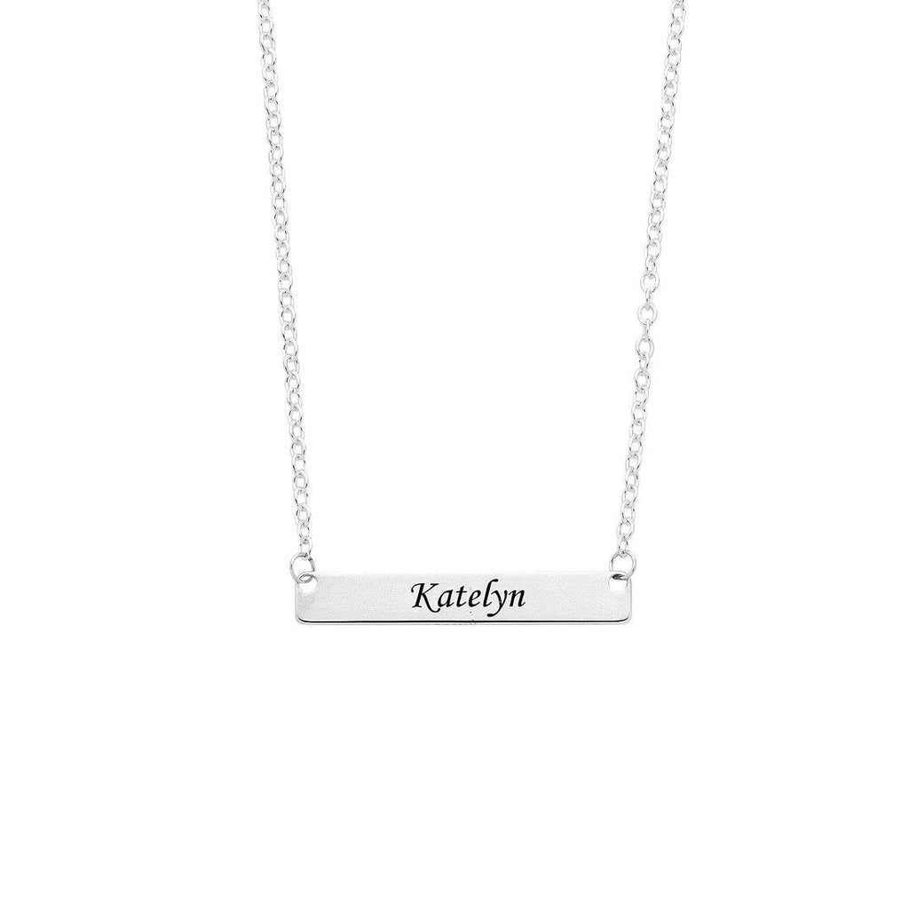 Sterling Silver Personalised Name Tag Necklace Necklaces Bevilles