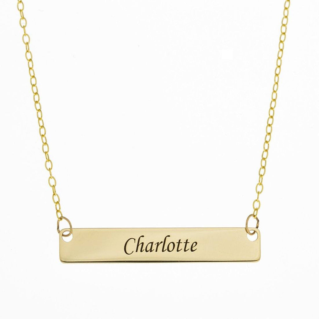 Personalised 9ct Yellow Gold Name Tag Necklace