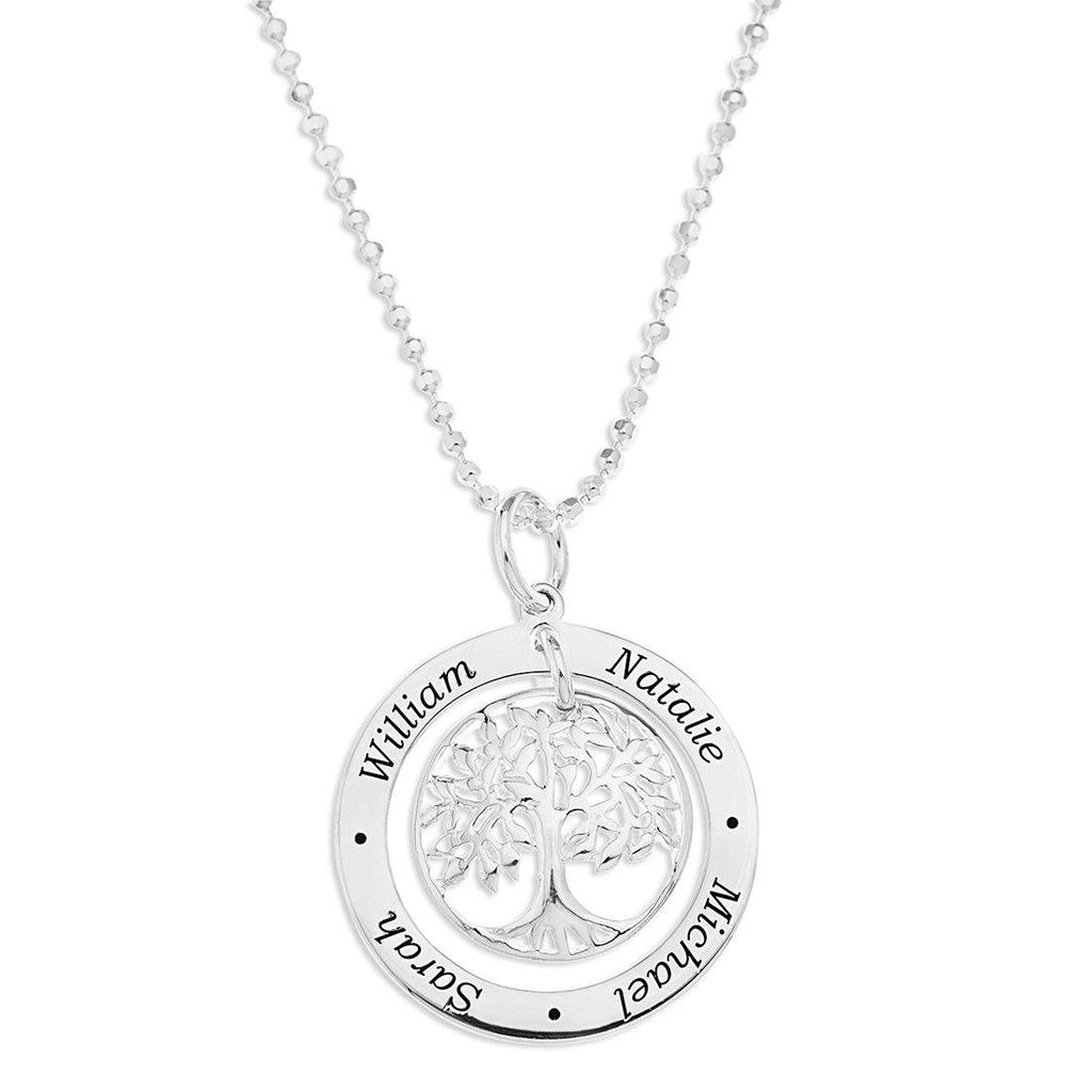 Sterling Silver Personalised Tree Of Life 4 Name Necklace Necklaces Bevilles