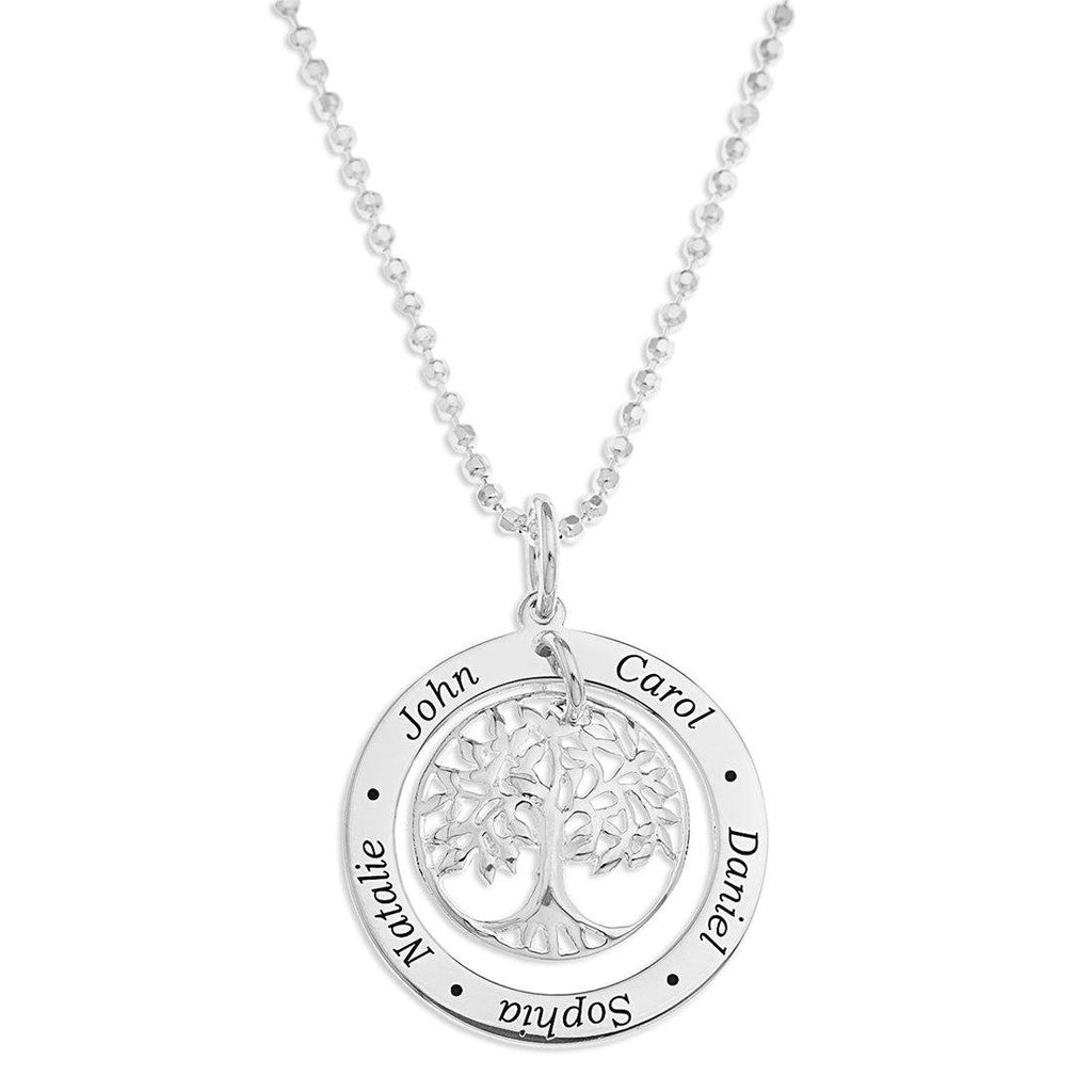 Sterling Silver Personalised Tree Of Life 5 Name Necklace Necklaces Bevilles