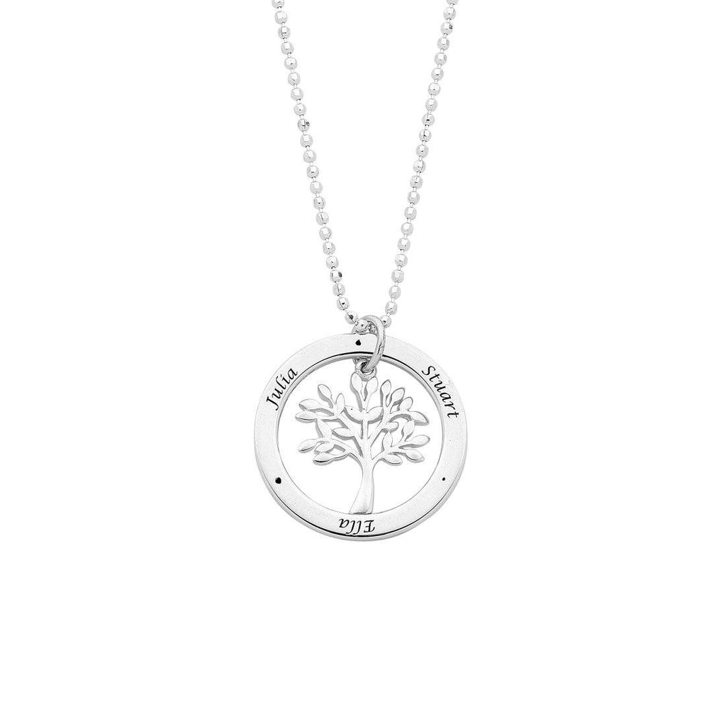 Sterling Silver Personalised Tree Of Life 3 Name Necklace Necklaces Bevilles