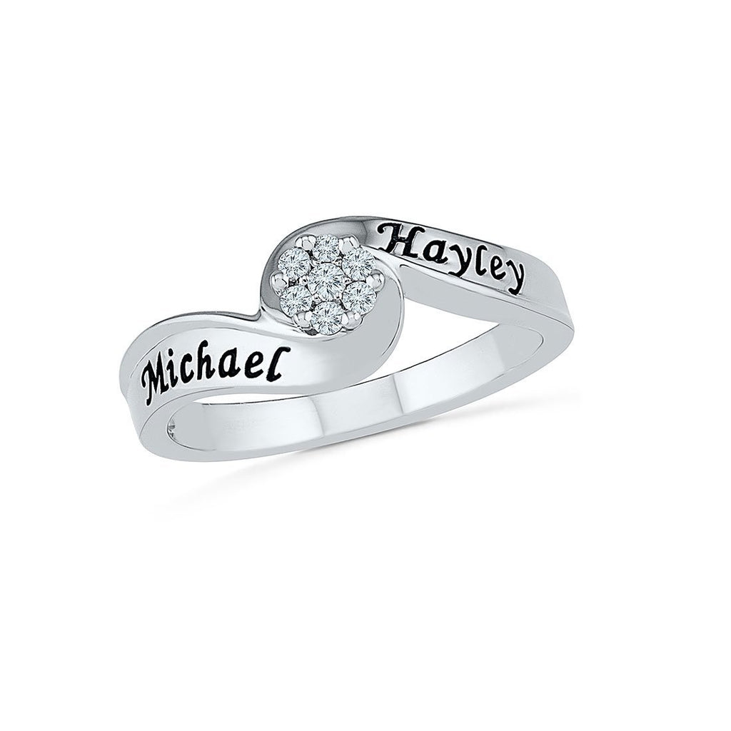 Sterling Silver Personalised 2 Name Diamond Ring