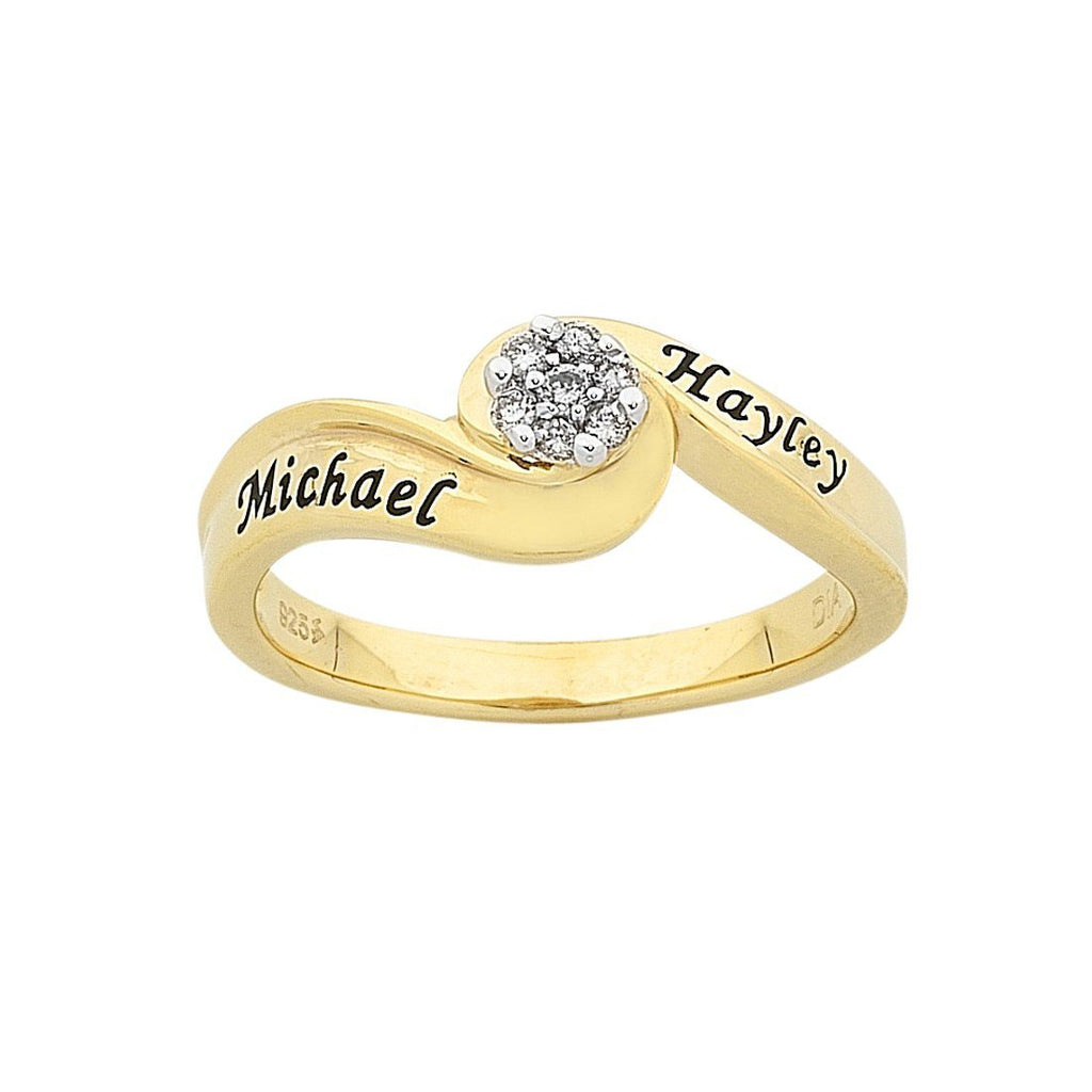 Personalised 9ct Yellow Gold Diamond Set Ring