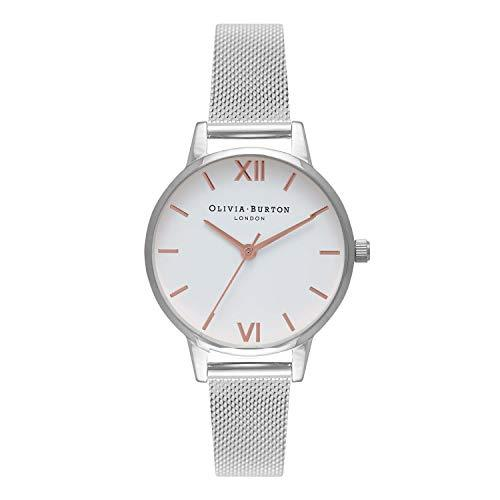 Olivia Burton Women's Watch White Dial Mesh Collection - Silver Case - Silver Mesh Strap - Silver Watches Olivia Burton