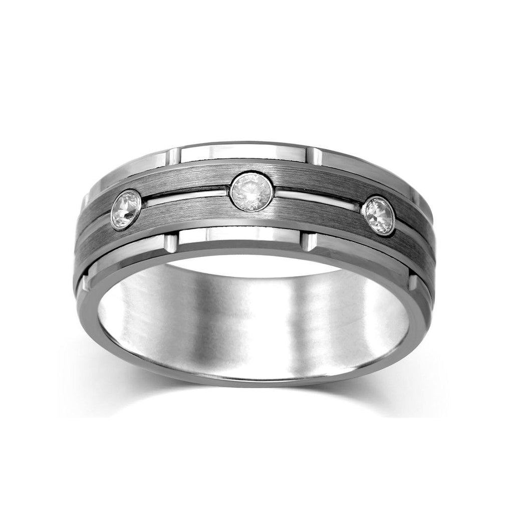 8mm Tungsen Mens Ring with Diamonds