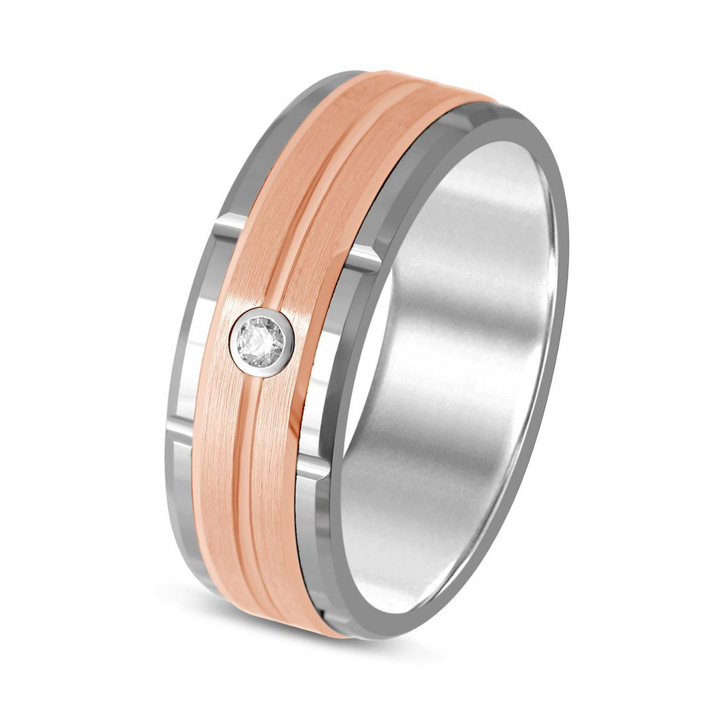 8mm Tungsten Ring with Diamond
