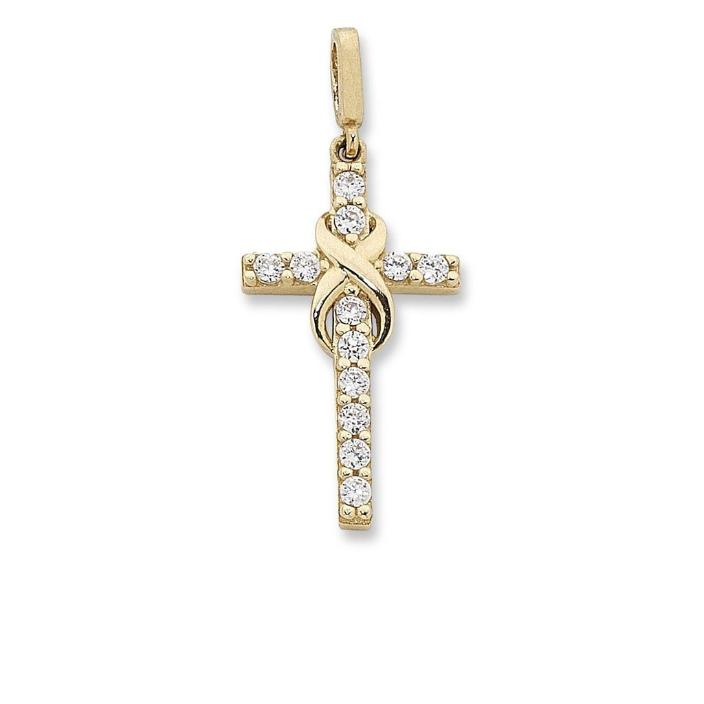 Infinity and Cross Pendant in 9ct Yellow Gold