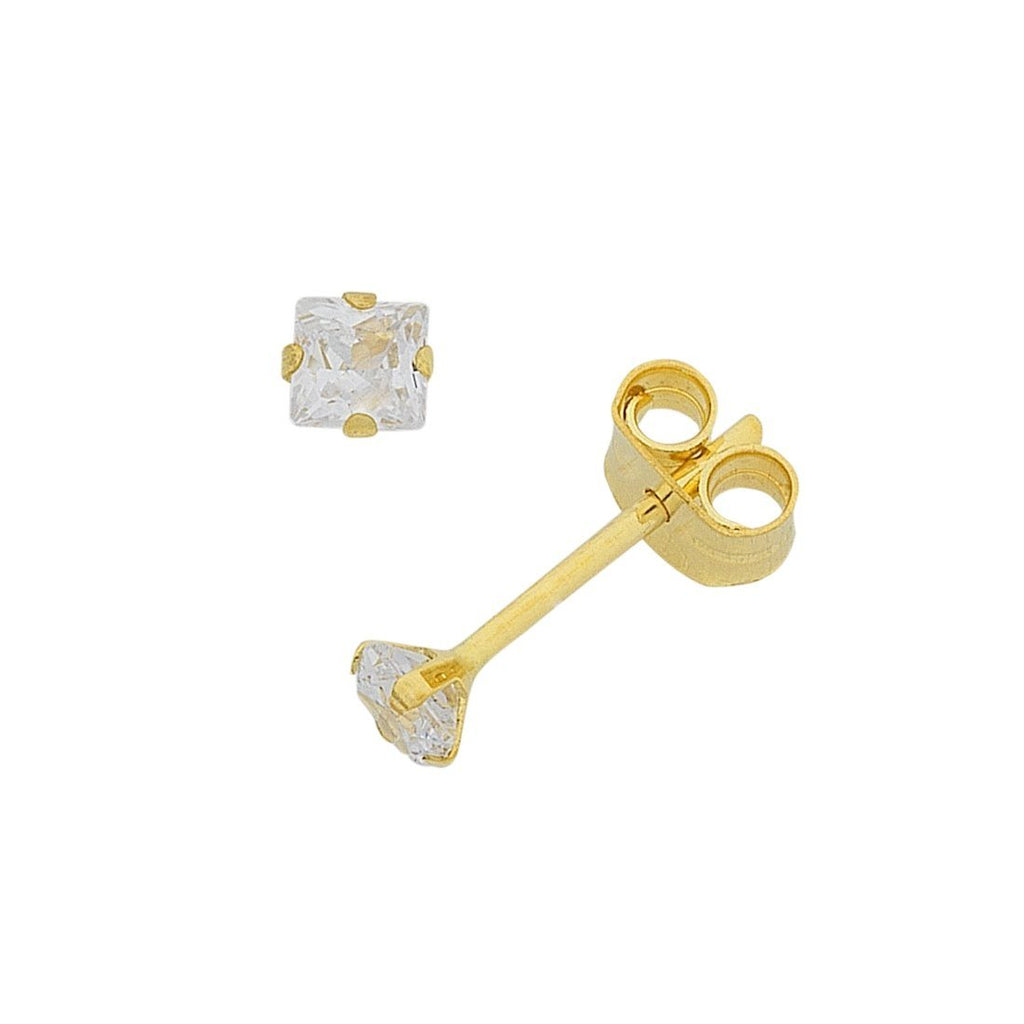 9ct Gold Cubic Zirconia 4mm Stud Earrings