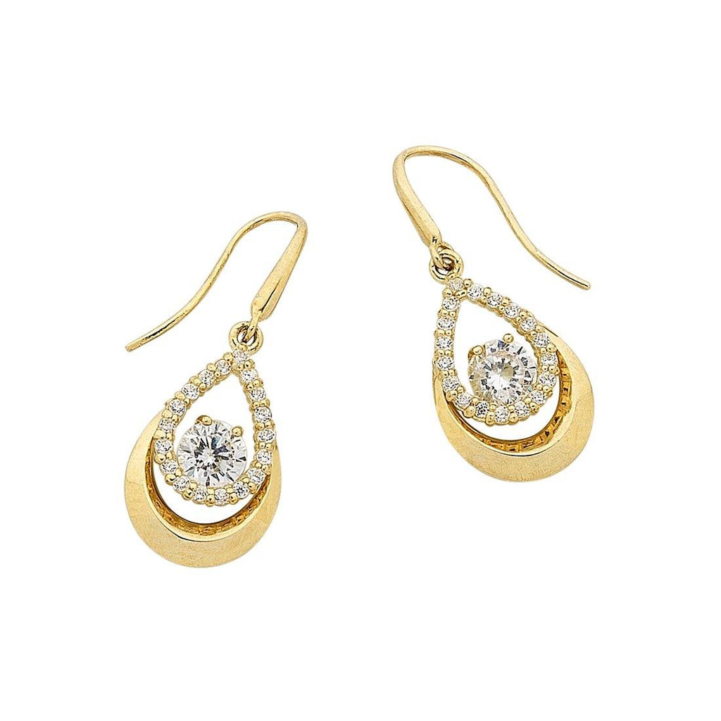 9ct Yellow Gold Pear Shaped Drop Earrings Earrings Bevilles