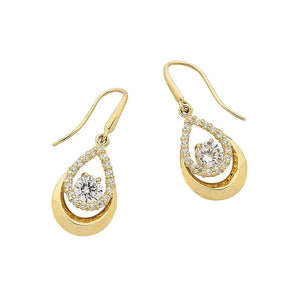 9ct Yellow Gold Pear Shaped Drop Earrings