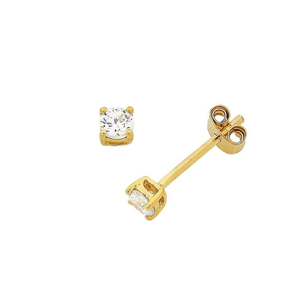 9ct Yellow Gold Cubic Zirconia 4 Claw Stud Earrings 4mm Earrings Bevilles