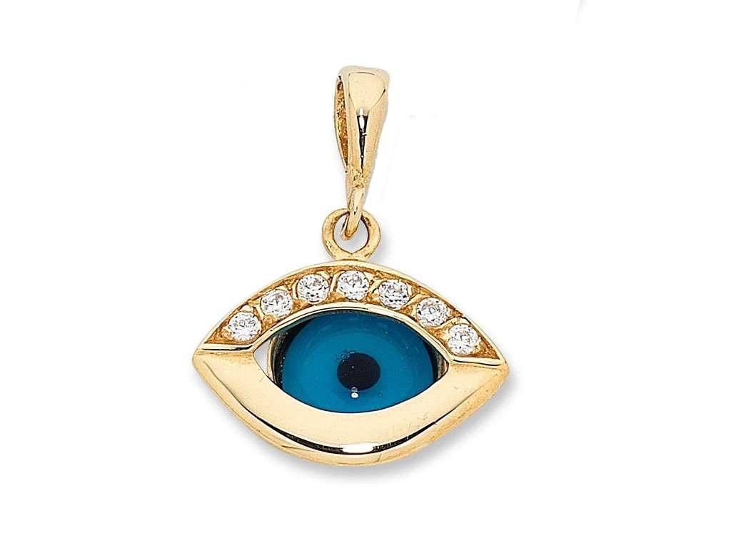 9ct Yellow Gold Blue Evil Eye Pendant with Cubic Zirconias Necklaces Bevilles