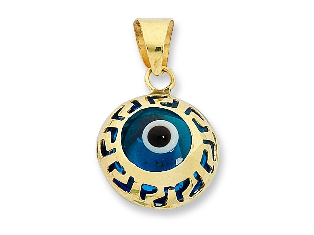 9ct Yellow Gold Evil Eye Pendant Necklaces Bevilles