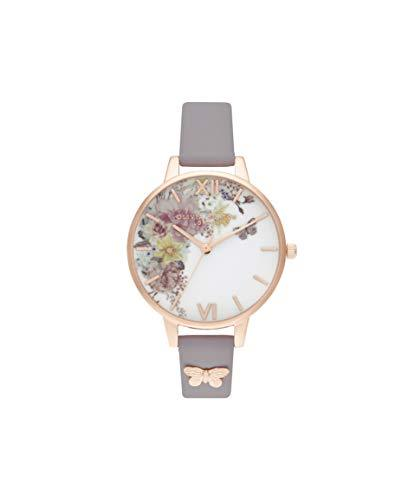 Olivia Burton Women's Watch Enchanted Garden Collection - Rose Gold Case - Grey Lilac Strap - Rose Gold Watches Olivia Burton