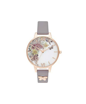 Olivia Burton Women's Watch Enchanted Garden Collection - Rose Gold Case - Grey Lilac Strap - Rose Gold