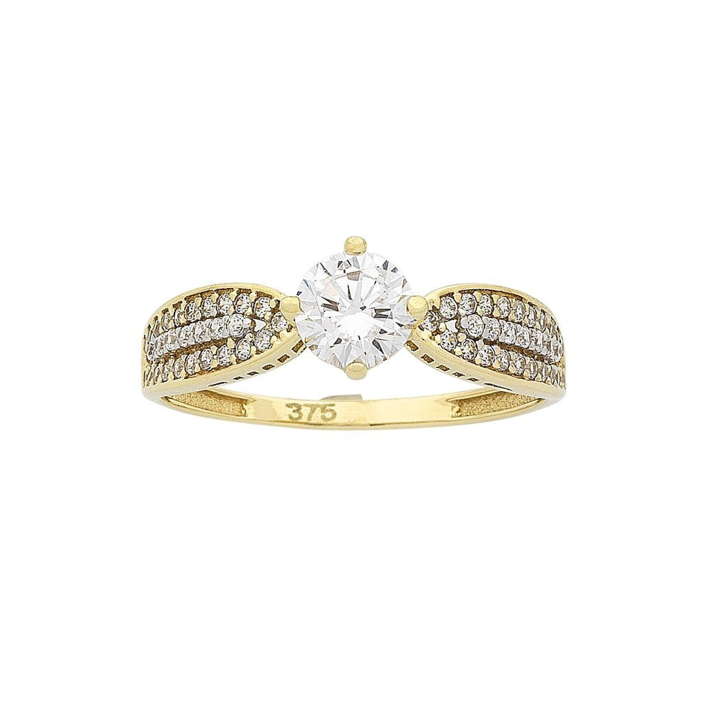 9ct Yellow Gold Cubic Zirconia Ring with Tapered Shoulders