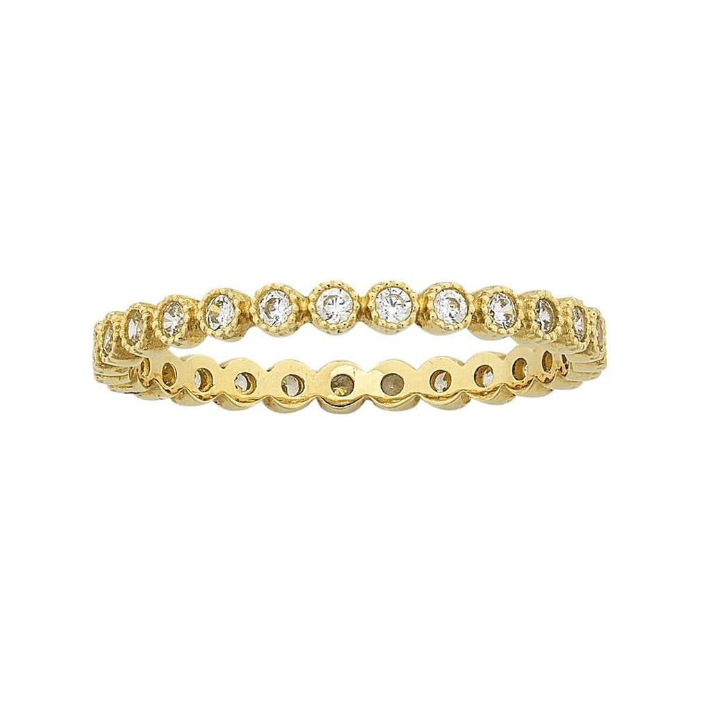 9ct Yellow Gold Cubic Zirconia Circle of Love Stackable Ring