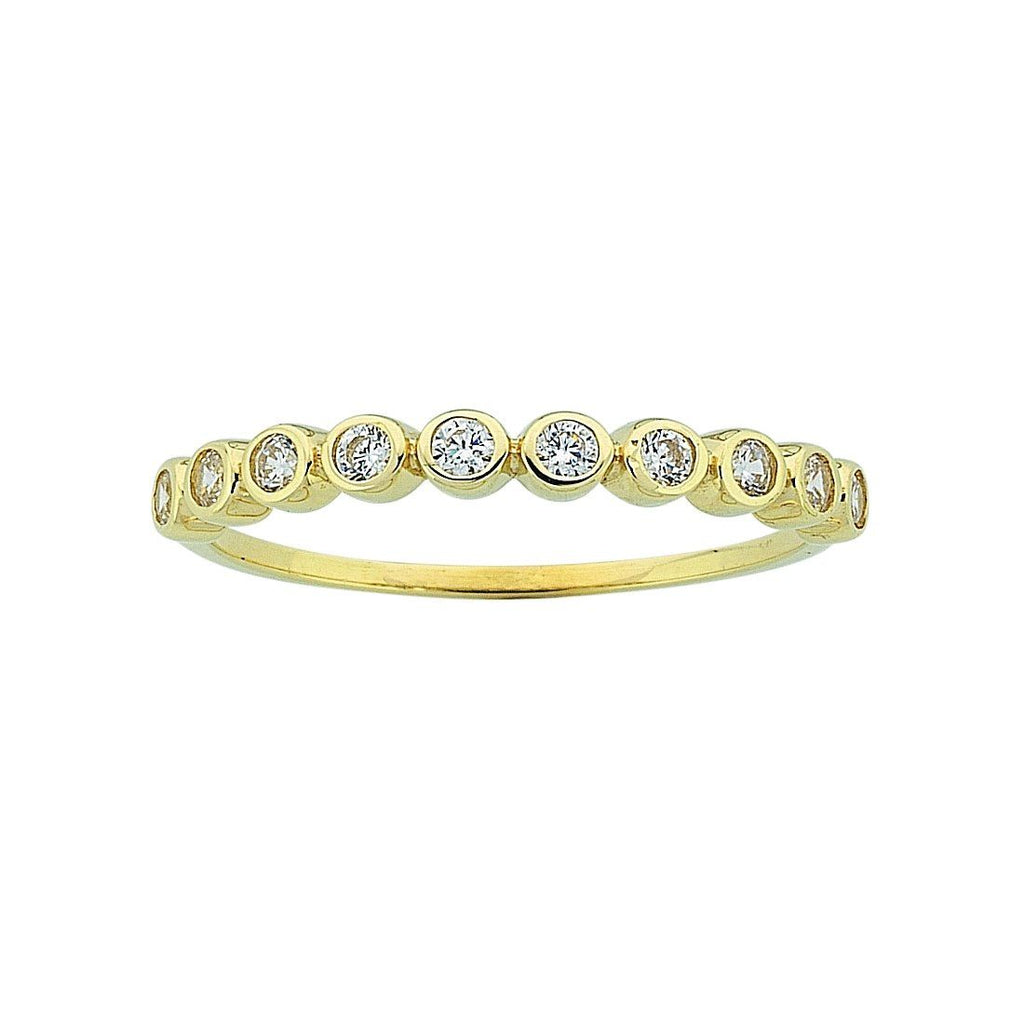 9ct Yellow Gold Cubic Zirconia Bezel Channel Set Stackable Ring
