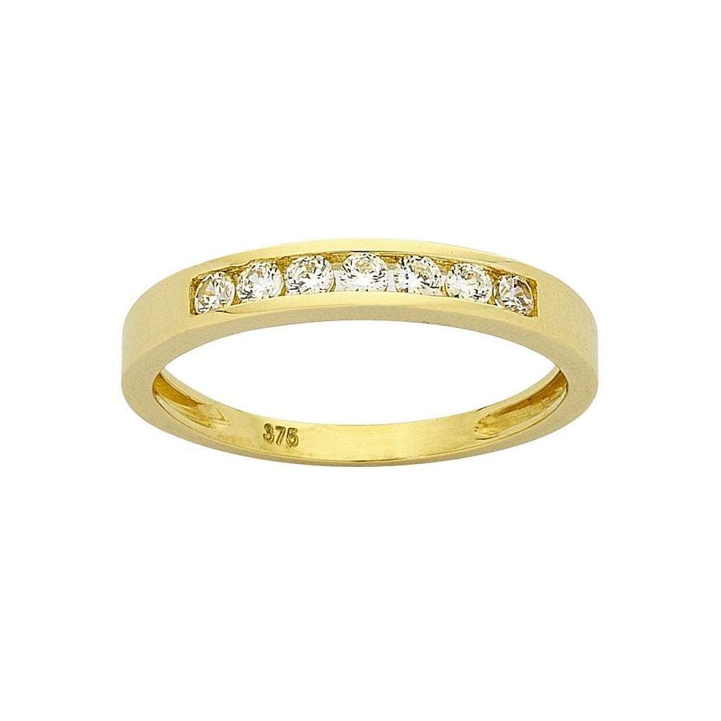 9ct Yellow Gold Cubic Zirconia Channel Set Ring Rings Bevilles