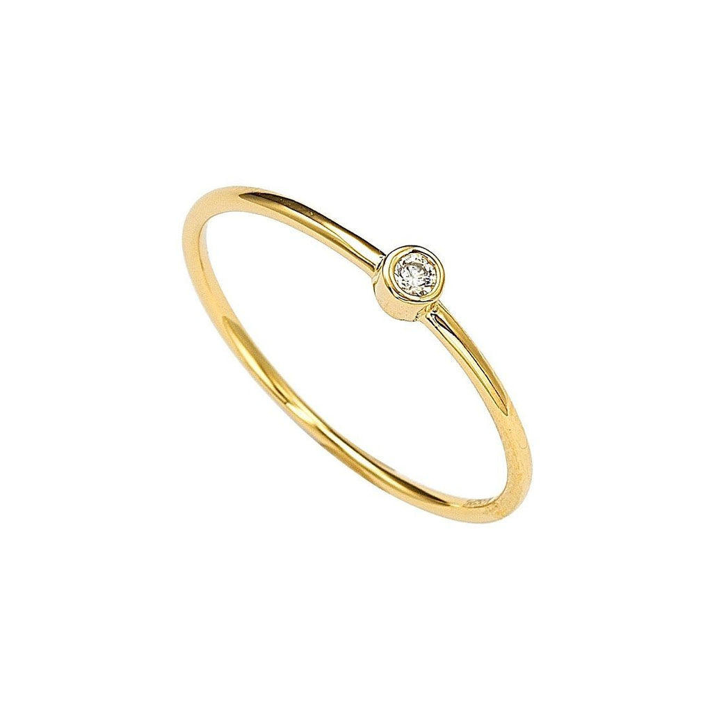 9ct Yellow Gold Round Cubic Zirconia Stackable Ring