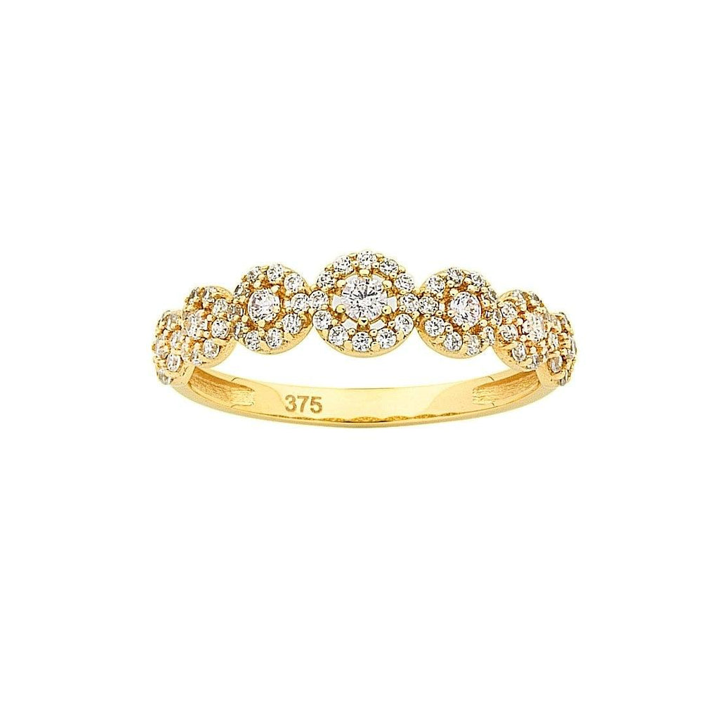 9ct Yellow Gold Cubic Zirconia Multi Halo Stackable Ring Rings Bevilles