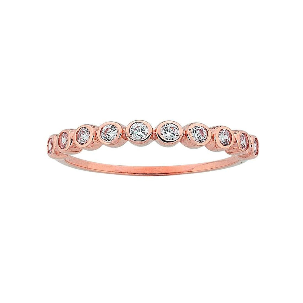 9ct Rose Gold Cubic Zirconia Bezel Channel Set Stackable Ring Rings Bevilles