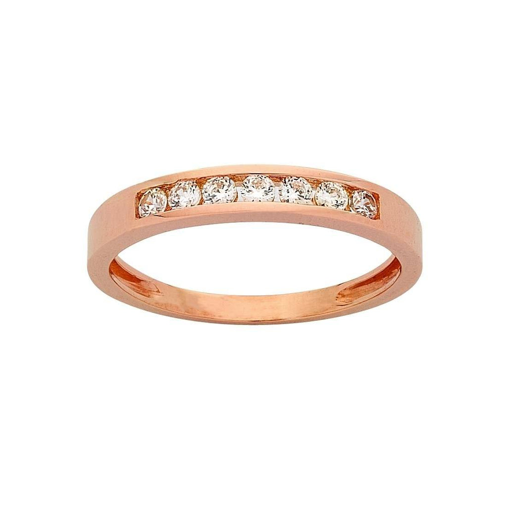 9ct Rose Gold Cubic Zirconia Stackable Ring Rings Bevilles
