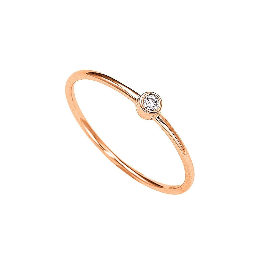 9ct Rose Gold Round Cubic Zirconia Stackable Ring Rings Bevilles