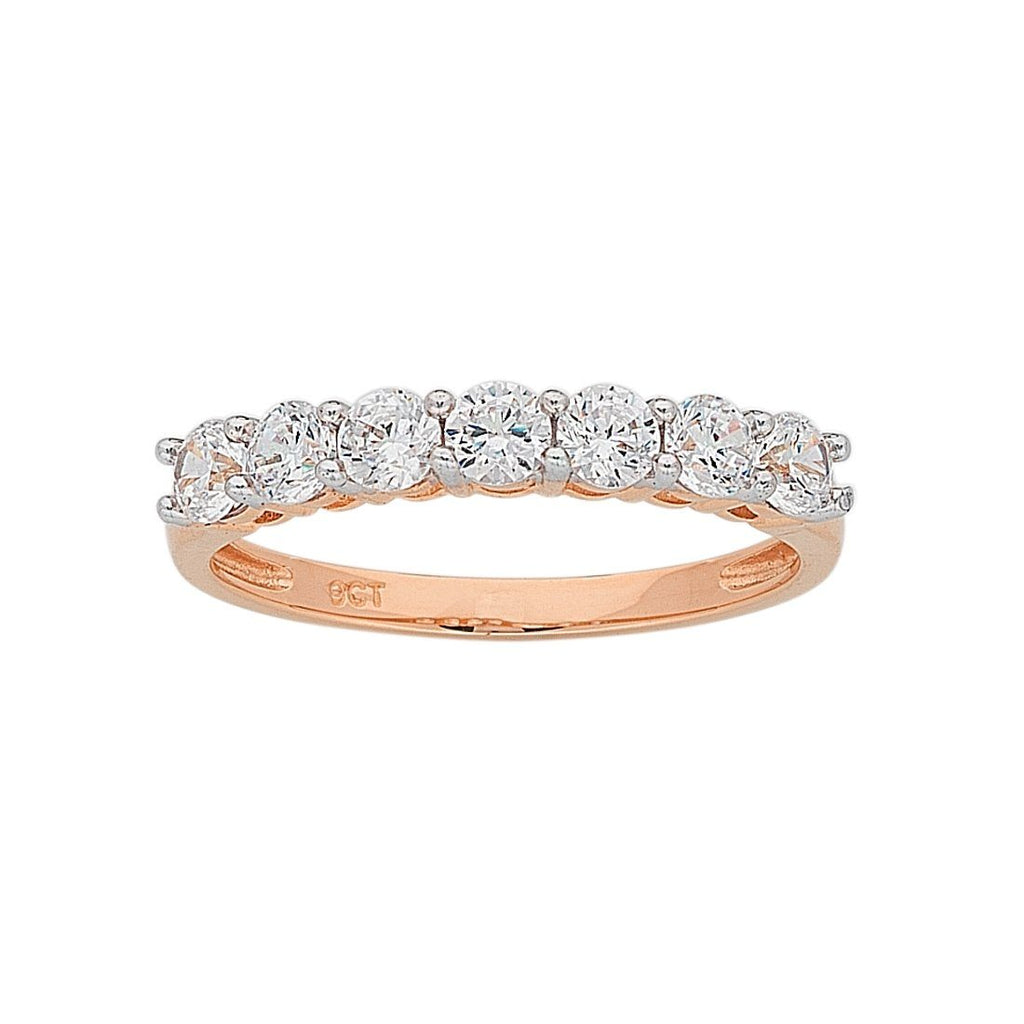 9ct Rose Gold 7 Cubic Zirconia Eternity Ring Rings Bevilles