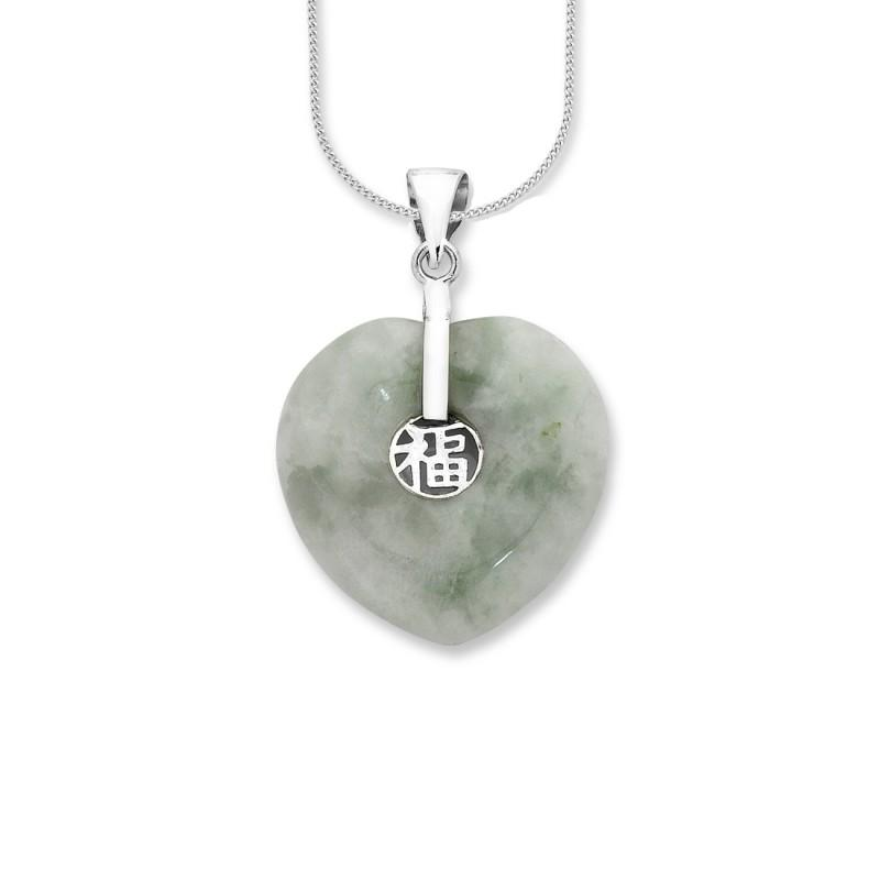 Sterling Silver Natural Jade Pendant Necklaces Bevilles