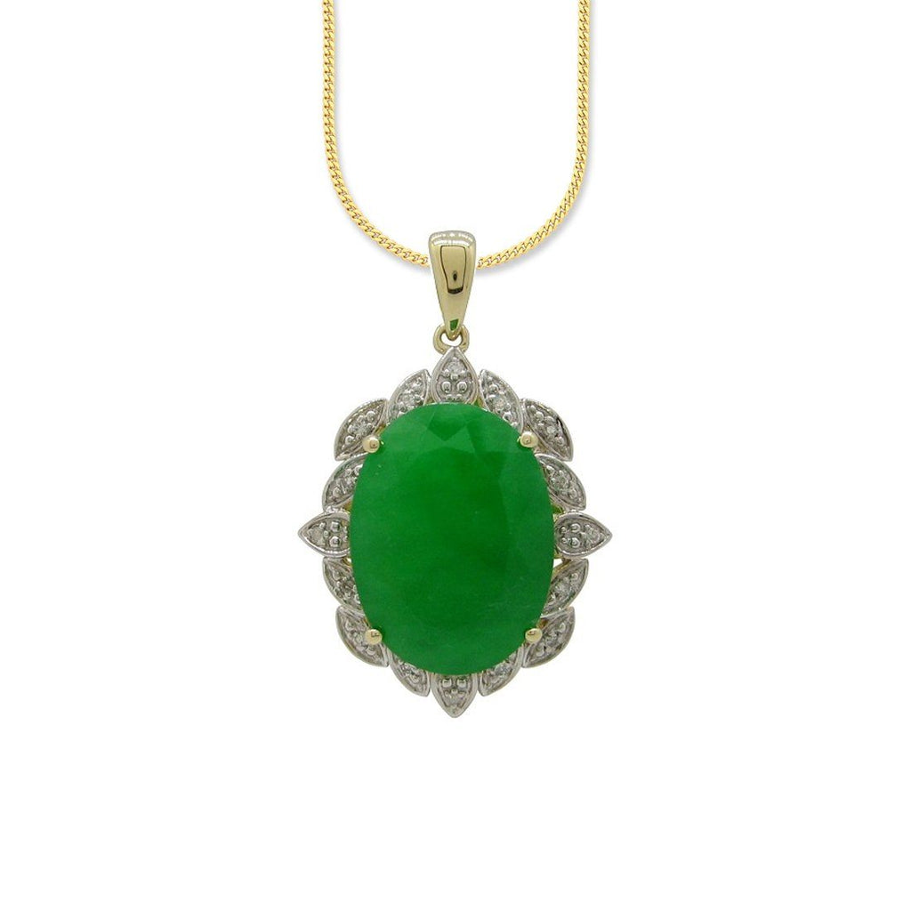 9ct Yellow Gold Oval Green Jade & Diamond Pendant Necklaces Bevilles