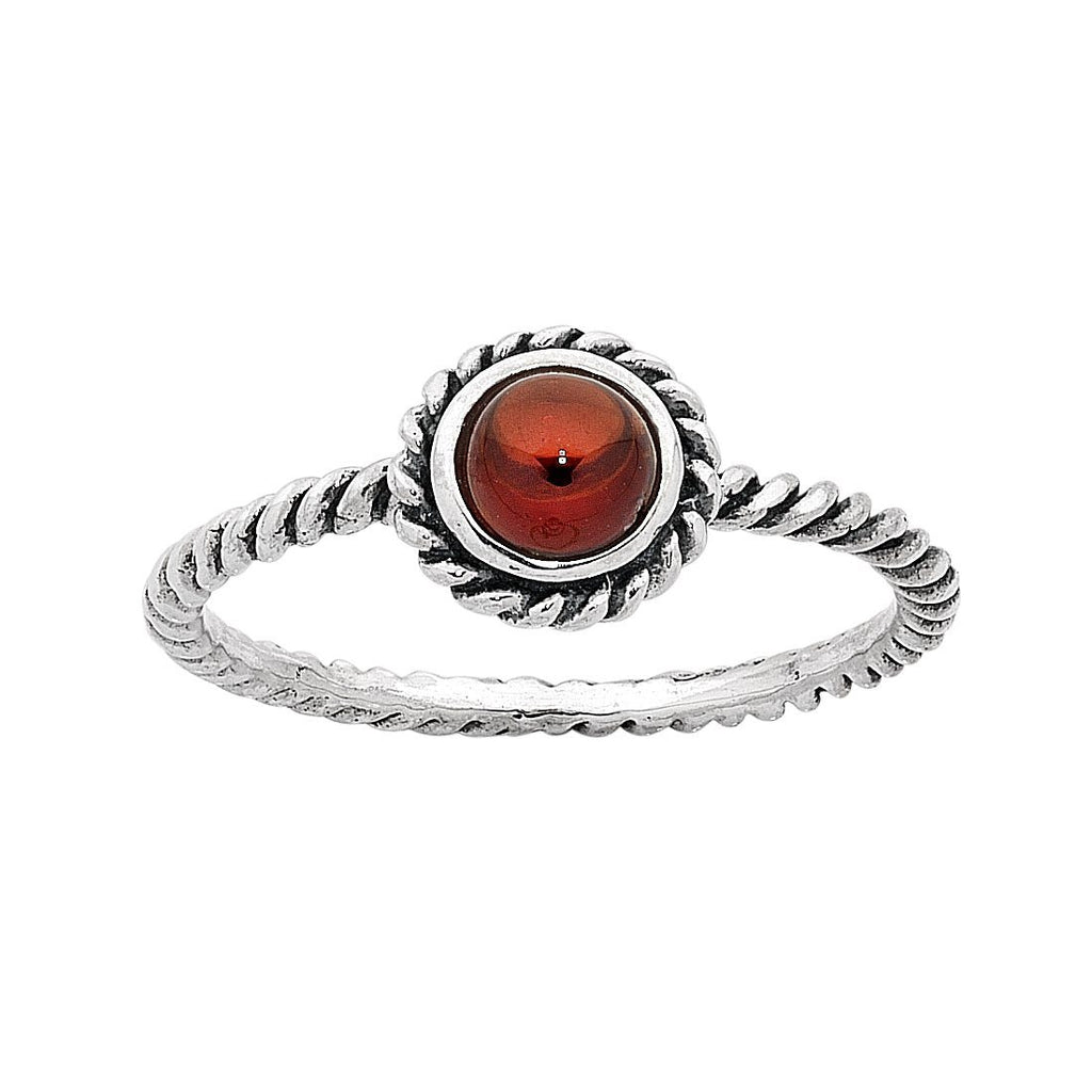 Sterling Silver Garnet January Birthstone Ring with Twisted Band