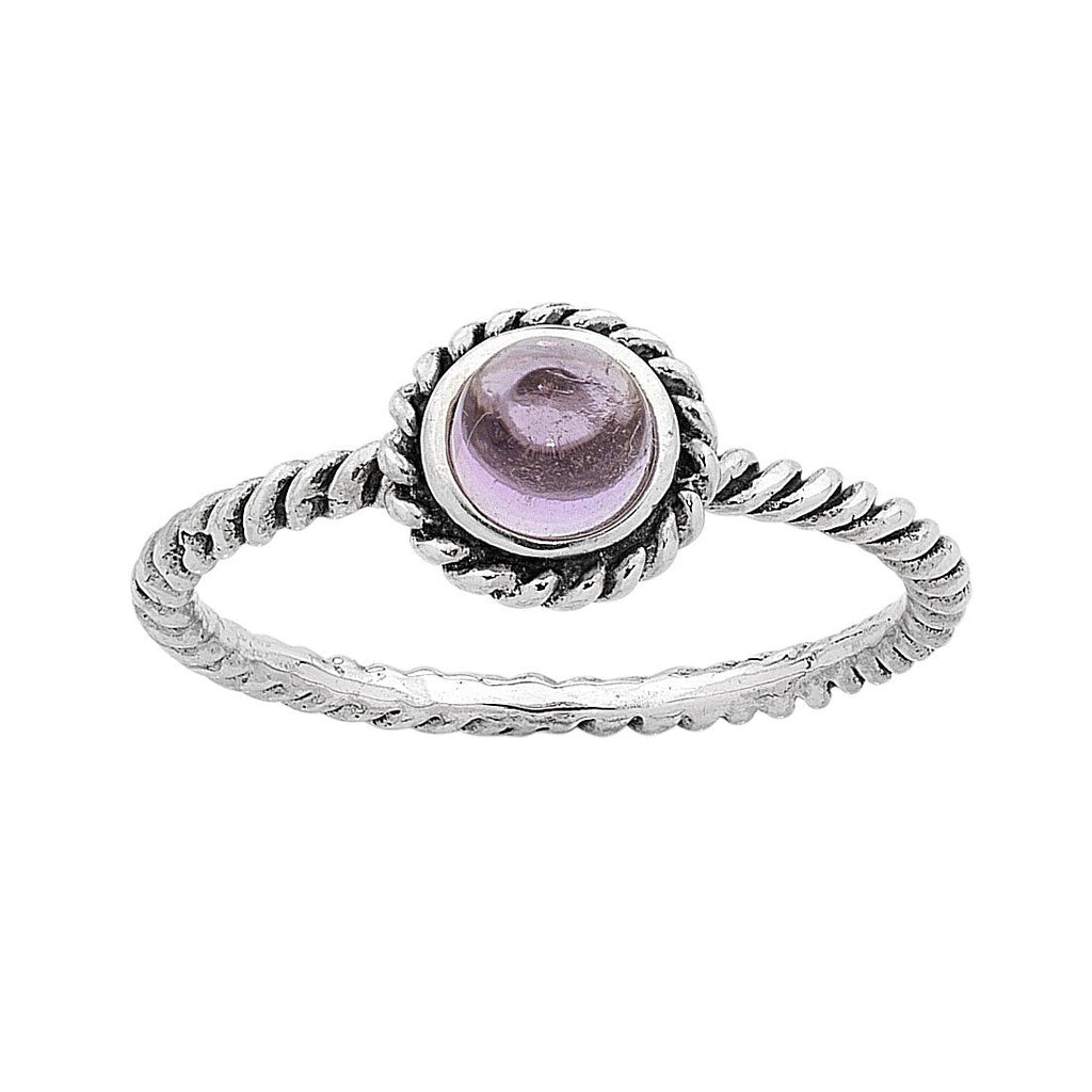 Sterling Silver Amethyst February Birthstone Ring with Twisted Band