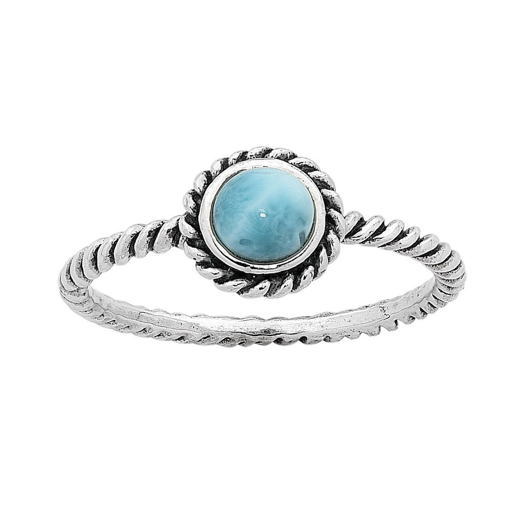Sterling Silver Larimar March Birthstone Ring with Twisted Band Rings Bevilles