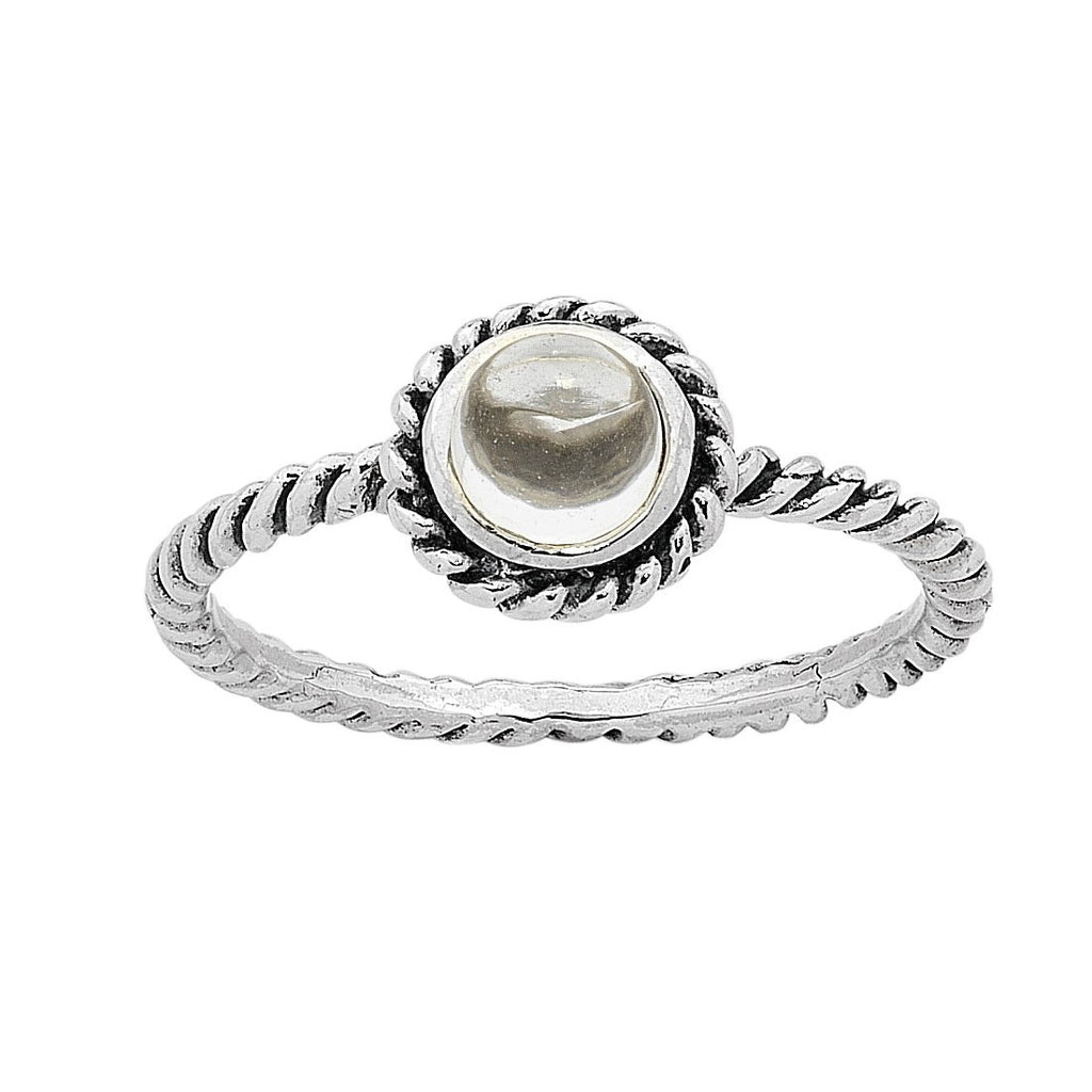 Sterling Silver White Topaz April Birthstone Ring with Twisted Band