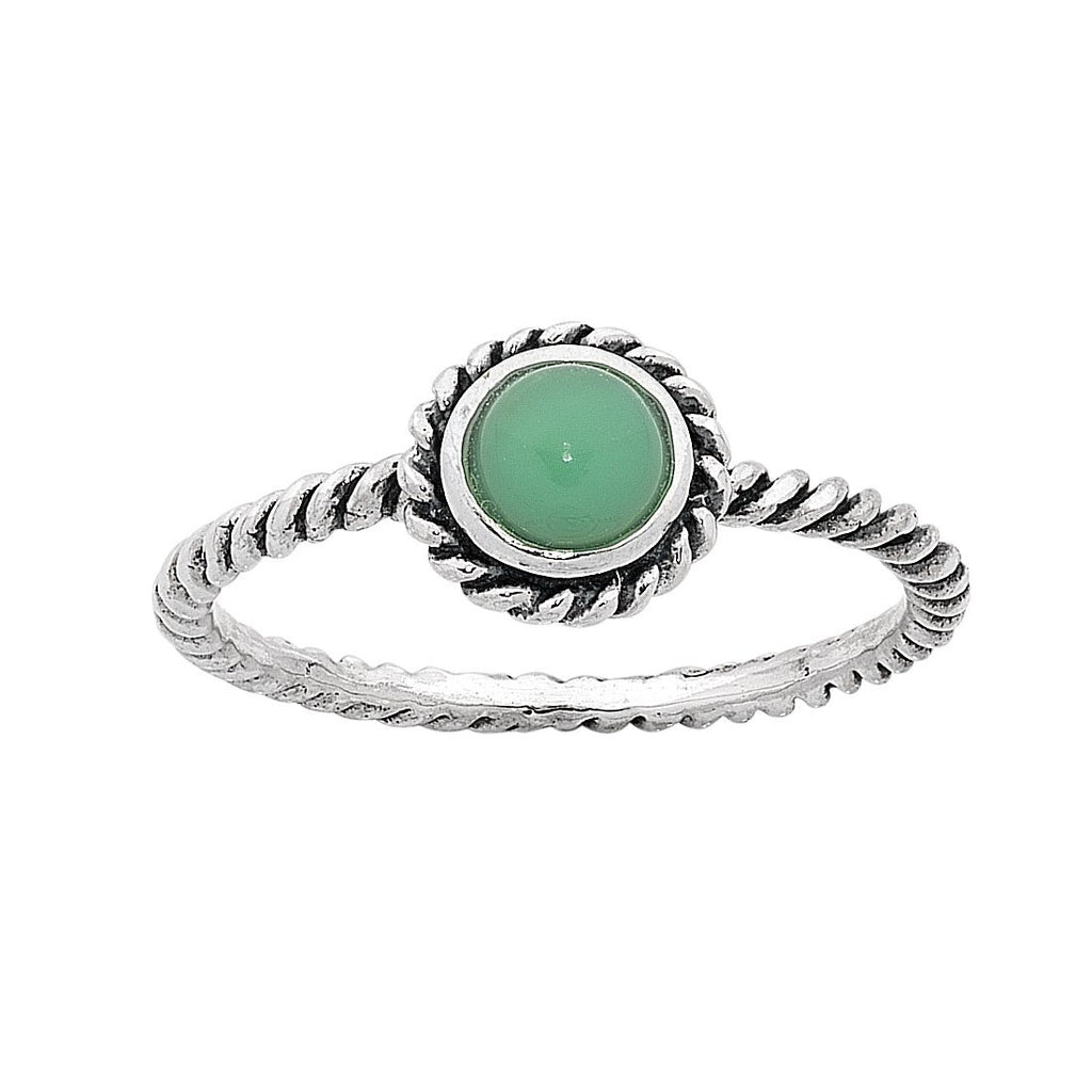 Sterling Silver Chrysoprase May Birthstone Ring with Twisted Band Rings Bevilles