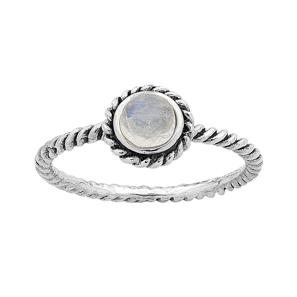 Sterling Silver Moonstone June Birthstone Ring with Twisted Band