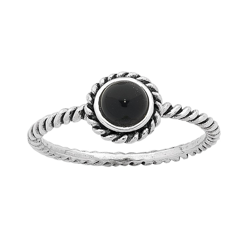 Sterling Silver Onyx July Birthstone Ring with Twisted Band Rings Bevilles
